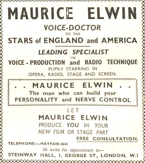 Maurice Elwin, Voice Doctor to the Stars (1937)